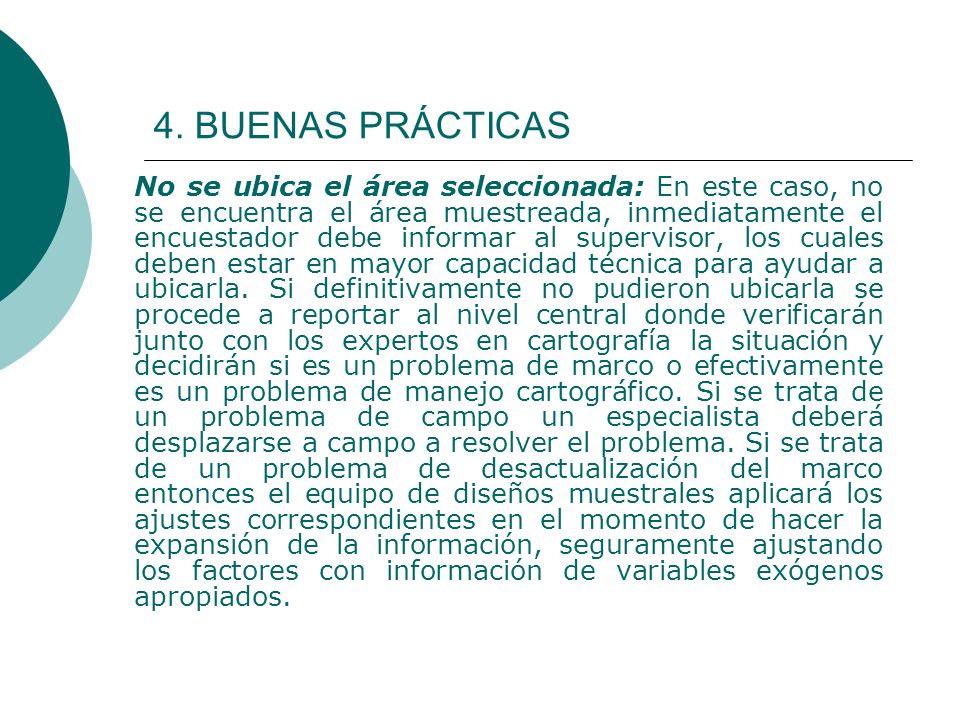 4. BUENAS PRÁCTICAS No se ubica el área seleccionada: En este caso, no se encuentra el área muestreada, inmediatamente el encuestador debe informar al