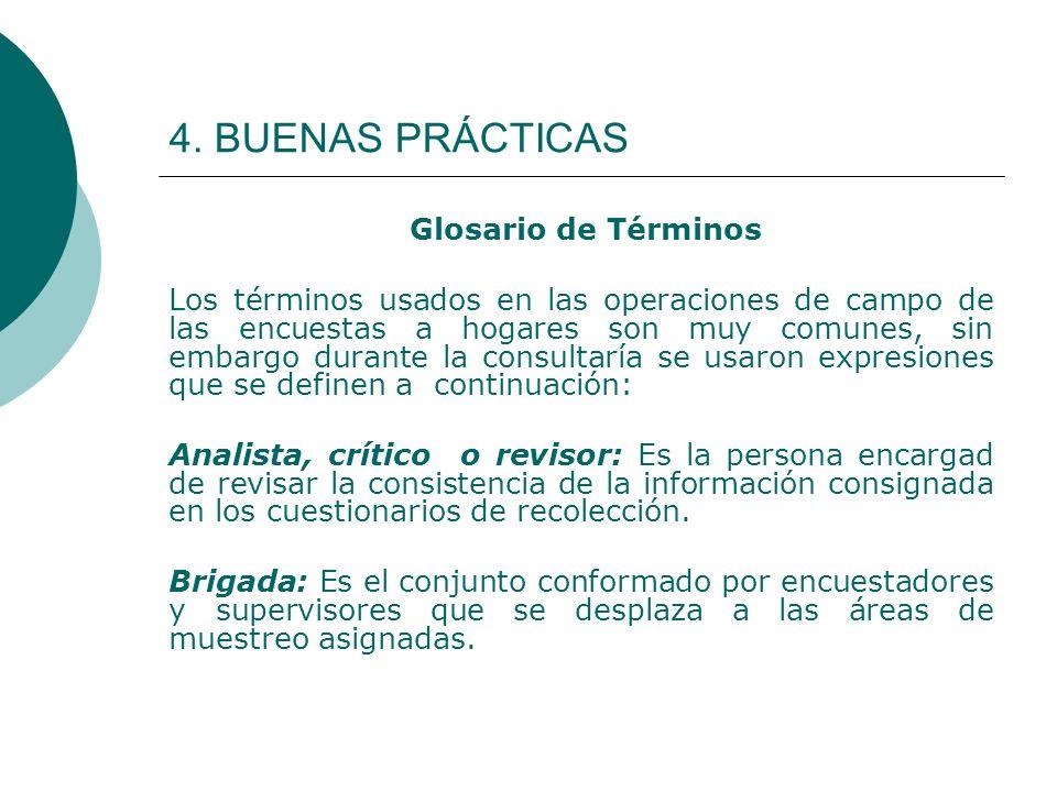 4. BUENAS PRÁCTICAS Glosario de Términos Los términos usados en las operaciones de campo de las encuestas a hogares son muy comunes, sin embargo duran