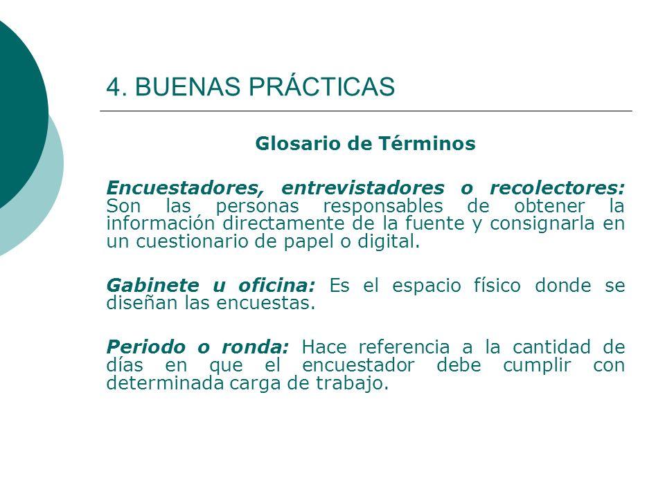4. BUENAS PRÁCTICAS Glosario de Términos Encuestadores, entrevistadores o recolectores: Son las personas responsables de obtener la información direct