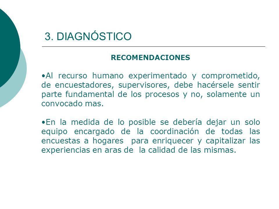 3. DIAGNÓSTICO RECOMENDACIONES Al recurso humano experimentado y comprometido, de encuestadores, supervisores, debe hacérsele sentir parte fundamental