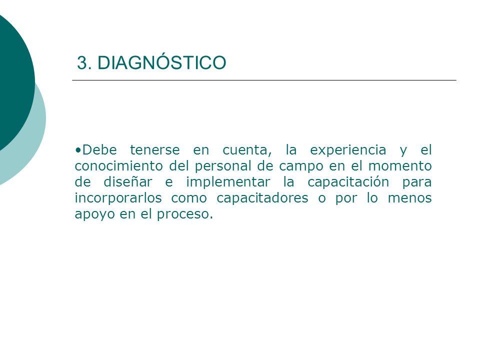 3. DIAGNÓSTICO Debe tenerse en cuenta, la experiencia y el conocimiento del personal de campo en el momento de diseñar e implementar la capacitación p
