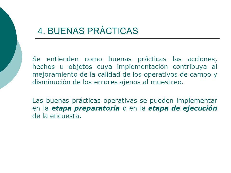 4. BUENAS PRÁCTICAS Se entienden como buenas prácticas las acciones, hechos u objetos cuya implementación contribuya al mejoramiento de la calidad de