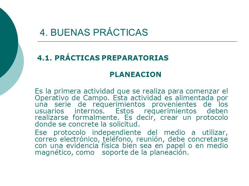 4. BUENAS PRÁCTICAS 4.1. PRÁCTICAS PREPARATORIAS PLANEACION Es la primera actividad que se realiza para comenzar el Operativo de Campo. Esta actividad