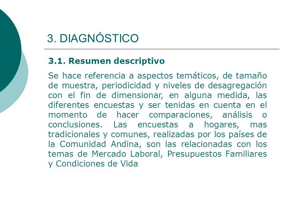 3. DIAGNÓSTICO 3.1. Resumen descriptivo Se hace referencia a aspectos temáticos, de tamaño de muestra, periodicidad y niveles de desagregación con el