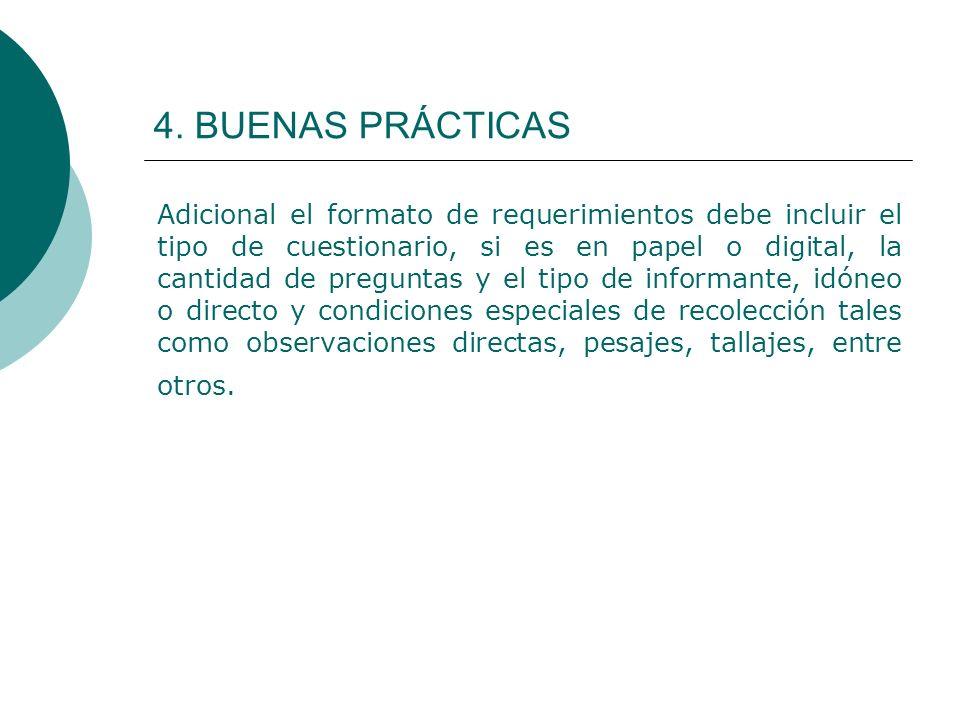 4. BUENAS PRÁCTICAS Adicional el formato de requerimientos debe incluir el tipo de cuestionario, si es en papel o digital, la cantidad de preguntas y