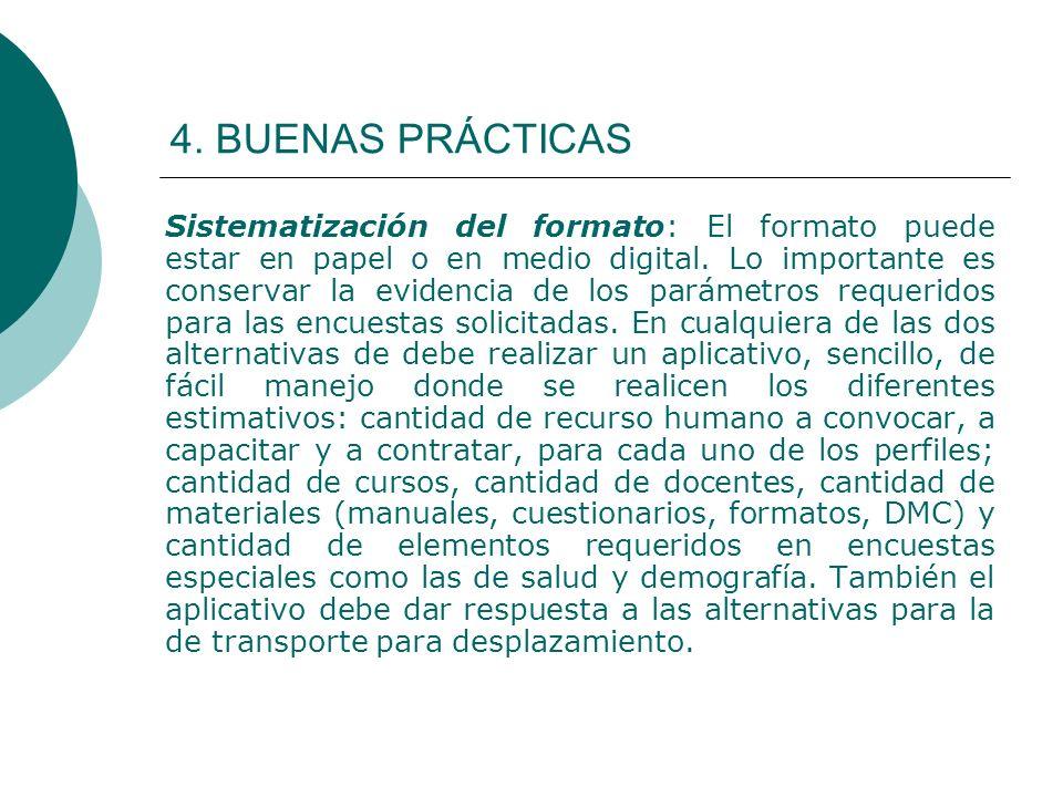 4. BUENAS PRÁCTICAS Sistematización del formato: El formato puede estar en papel o en medio digital. Lo importante es conservar la evidencia de los pa