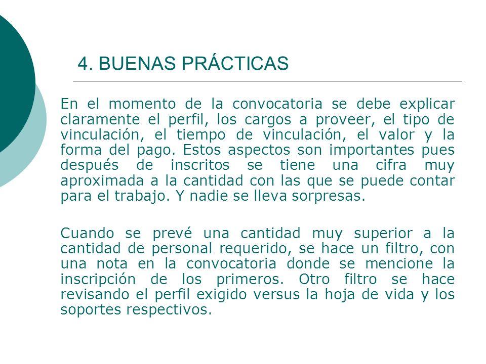 4. BUENAS PRÁCTICAS En el momento de la convocatoria se debe explicar claramente el perfil, los cargos a proveer, el tipo de vinculación, el tiempo de