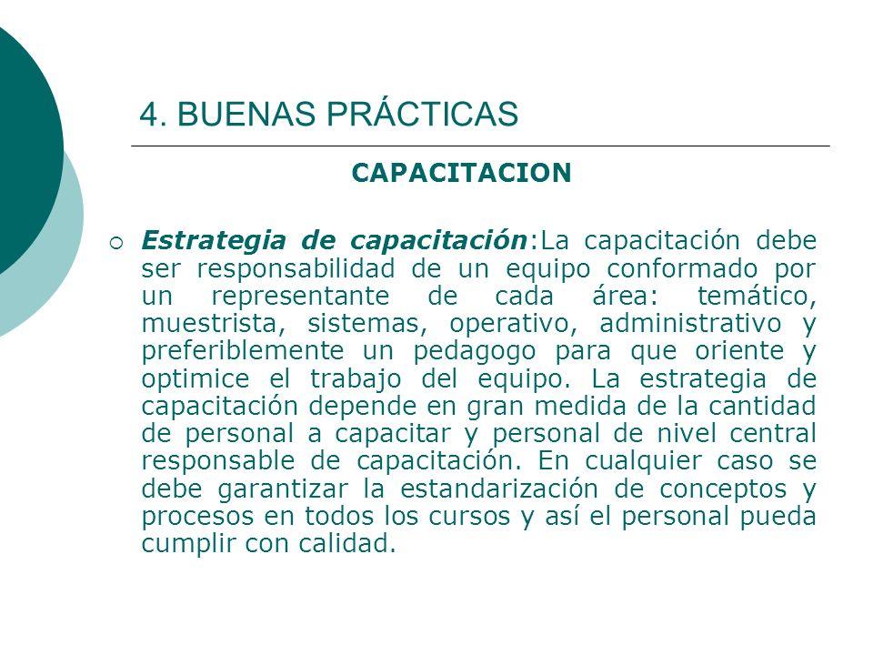 4. BUENAS PRÁCTICAS CAPACITACION Estrategia de capacitación:La capacitación debe ser responsabilidad de un equipo conformado por un representante de c