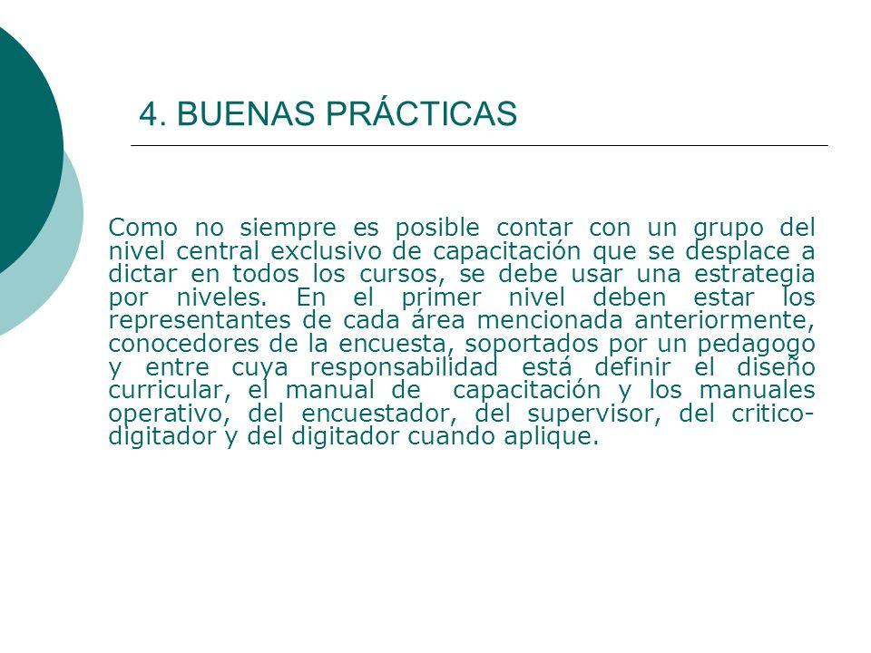 4. BUENAS PRÁCTICAS Como no siempre es posible contar con un grupo del nivel central exclusivo de capacitación que se desplace a dictar en todos los c