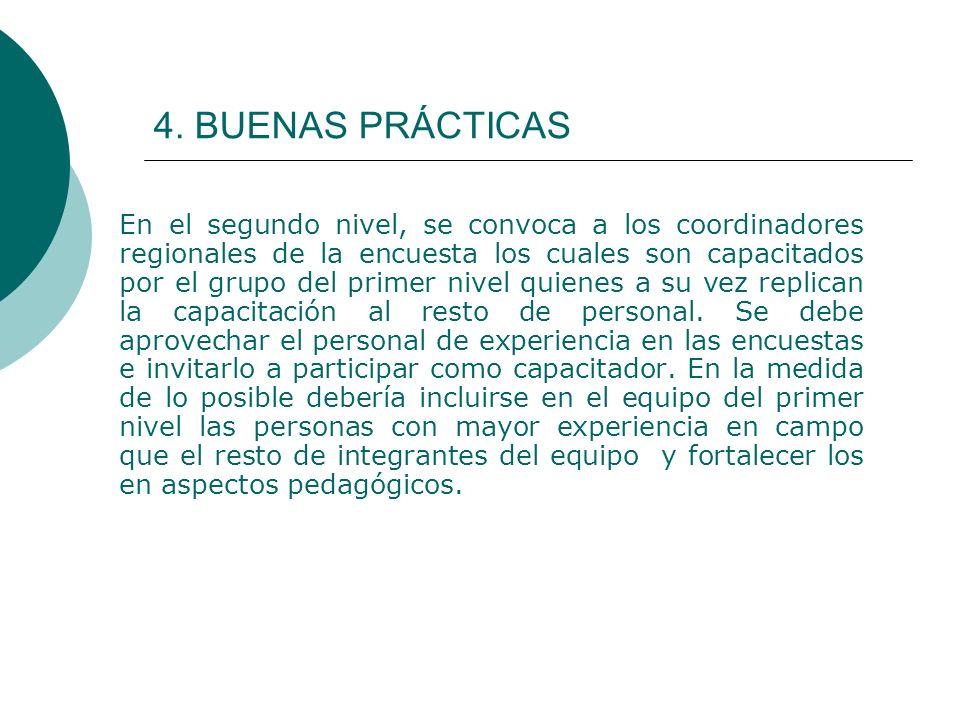 4. BUENAS PRÁCTICAS En el segundo nivel, se convoca a los coordinadores regionales de la encuesta los cuales son capacitados por el grupo del primer n