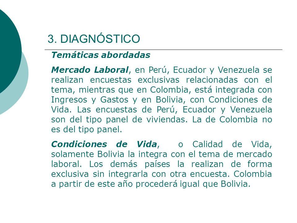 3. DIAGNÓSTICO Temáticas abordadas Mercado Laboral, en Perú, Ecuador y Venezuela se realizan encuestas exclusivas relacionadas con el tema, mientras q