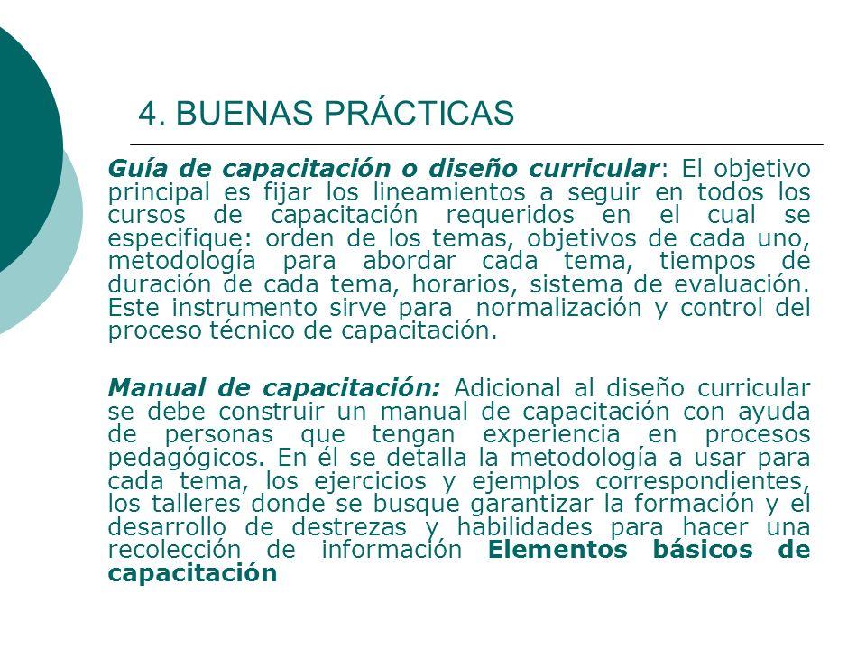 4. BUENAS PRÁCTICAS Guía de capacitación o diseño curricular: El objetivo principal es fijar los lineamientos a seguir en todos los cursos de capacita