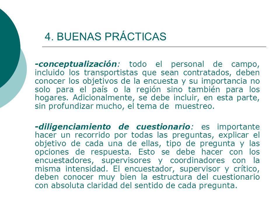 4. BUENAS PRÁCTICAS -conceptualización: todo el personal de campo, incluido los transportistas que sean contratados, deben conocer los objetivos de la