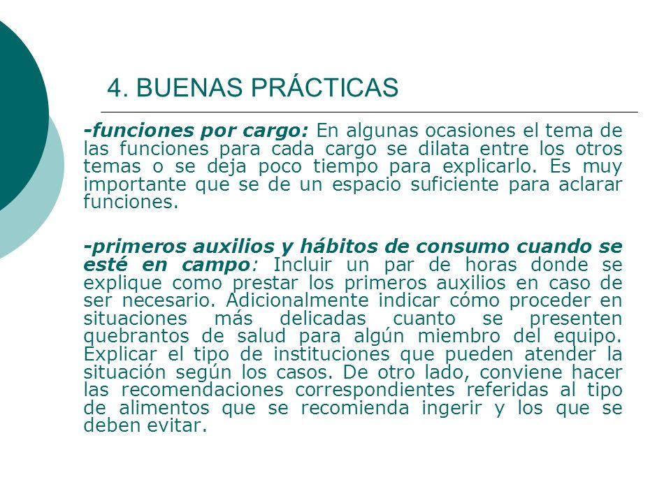 4. BUENAS PRÁCTICAS -funciones por cargo: En algunas ocasiones el tema de las funciones para cada cargo se dilata entre los otros temas o se deja poco