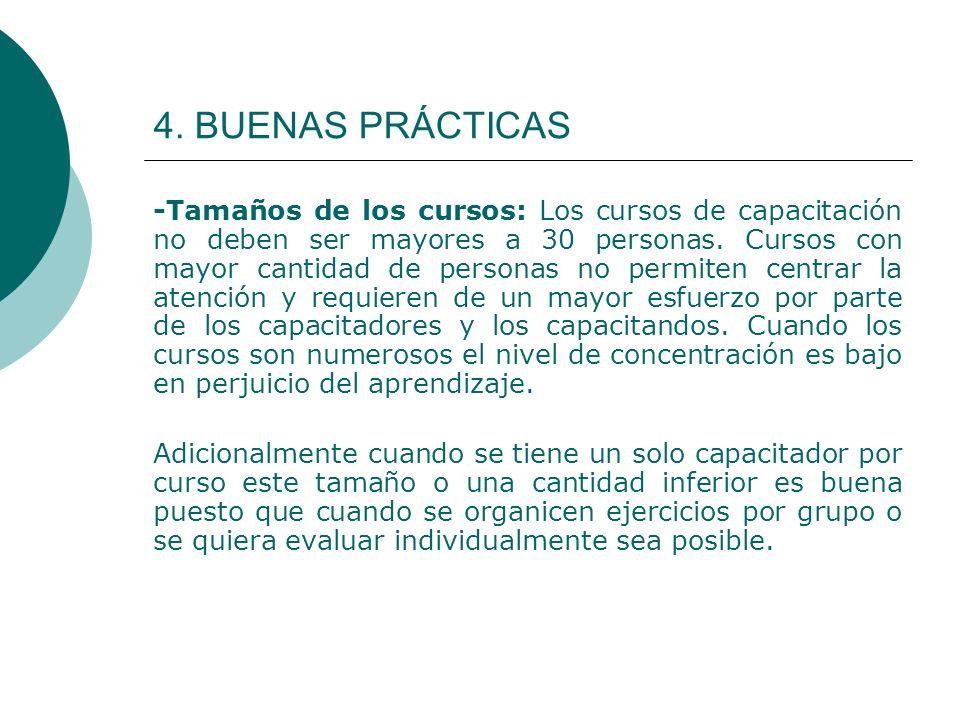 4. BUENAS PRÁCTICAS -Tamaños de los cursos: Los cursos de capacitación no deben ser mayores a 30 personas. Cursos con mayor cantidad de personas no pe