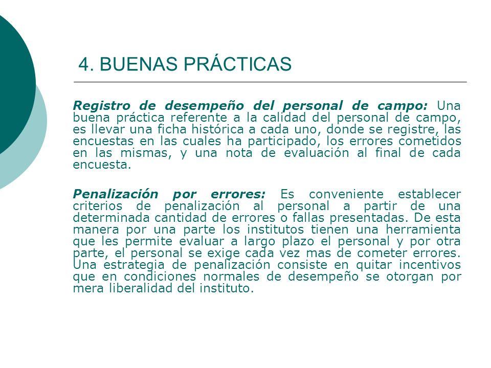 4. BUENAS PRÁCTICAS Registro de desempeño del personal de campo: Una buena práctica referente a la calidad del personal de campo, es llevar una ficha