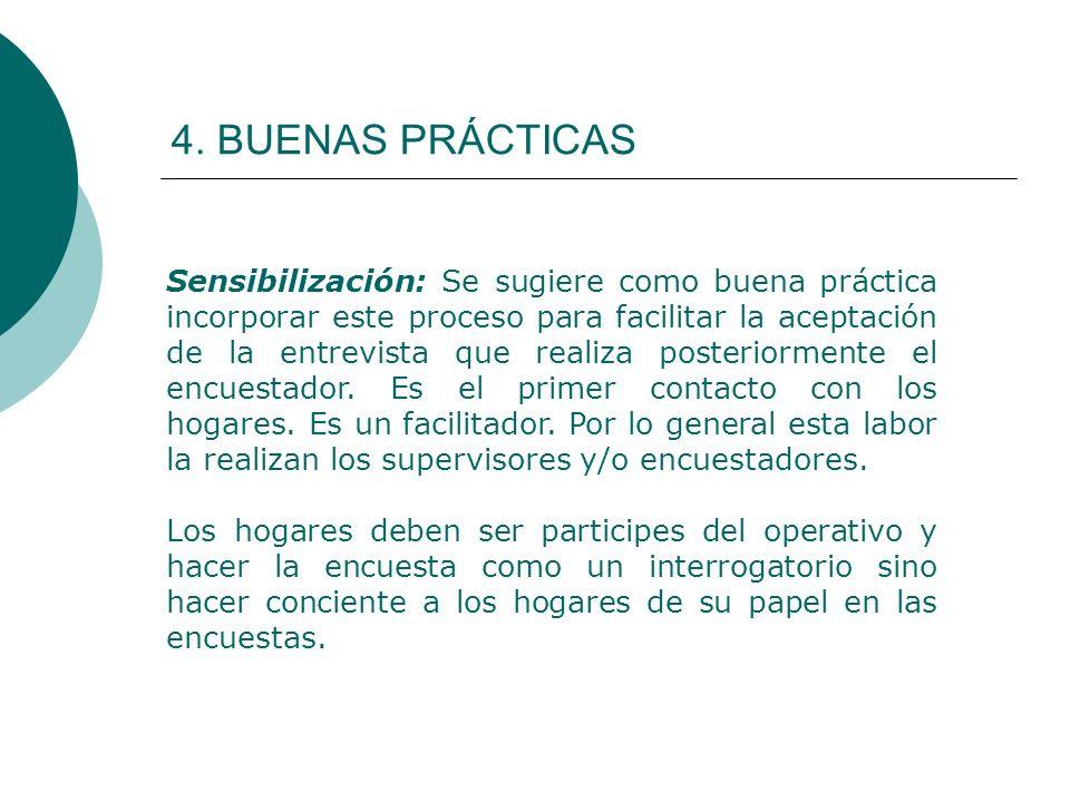 4. BUENAS PRÁCTICAS Sensibilización: Se sugiere como buena práctica incorporar este proceso para facilitar la aceptación de la entrevista que realiza