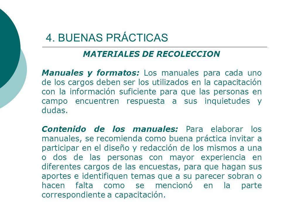 4. BUENAS PRÁCTICAS MATERIALES DE RECOLECCION Manuales y formatos: Los manuales para cada uno de los cargos deben ser los utilizados en la capacitació