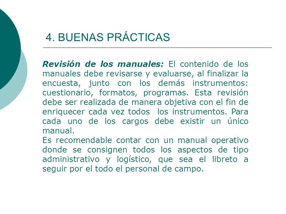4. BUENAS PRÁCTICAS Revisión de los manuales: El contenido de los manuales debe revisarse y evaluarse, al finalizar la encuesta, junto con los demás i