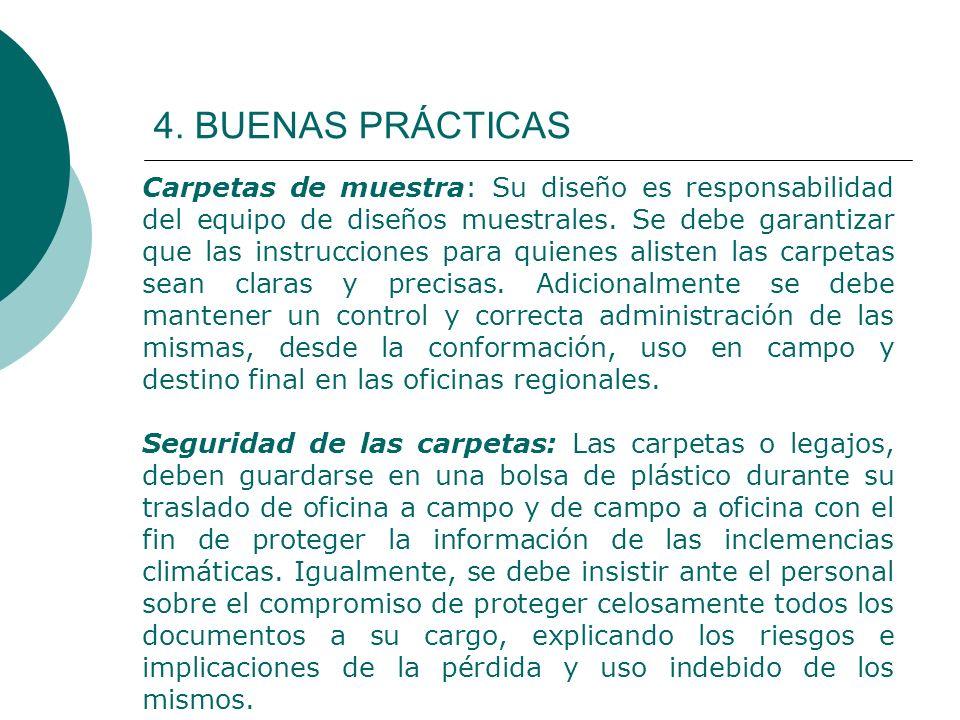 4. BUENAS PRÁCTICAS Carpetas de muestra: Su diseño es responsabilidad del equipo de diseños muestrales. Se debe garantizar que las instrucciones para