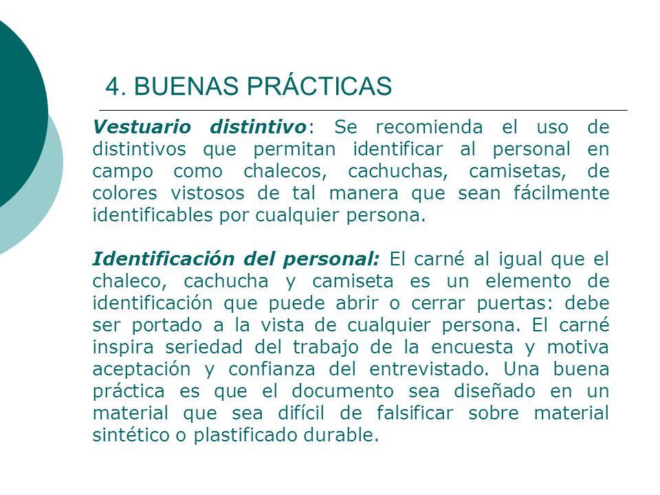 4. BUENAS PRÁCTICAS Vestuario distintivo: Se recomienda el uso de distintivos que permitan identificar al personal en campo como chalecos, cachuchas,
