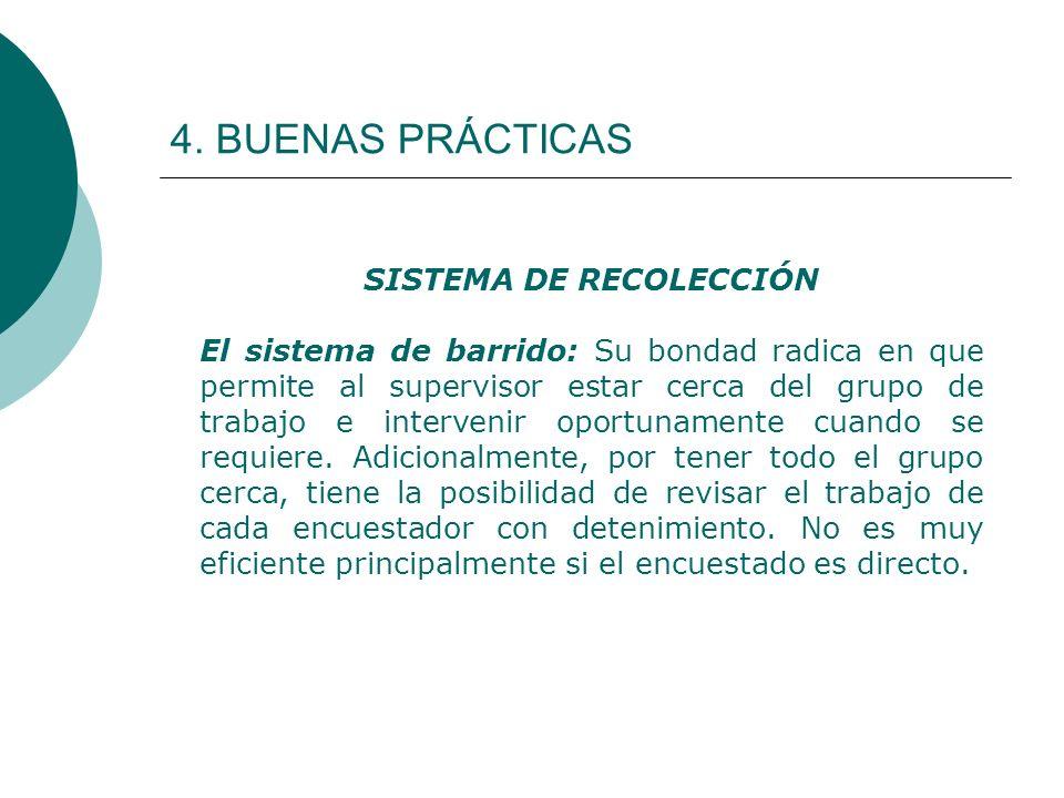 4. BUENAS PRÁCTICAS SISTEMA DE RECOLECCIÓN El sistema de barrido: Su bondad radica en que permite al supervisor estar cerca del grupo de trabajo e int