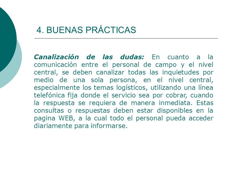 4. BUENAS PRÁCTICAS Canalización de las dudas: En cuanto a la comunicación entre el personal de campo y el nivel central, se deben canalizar todas las