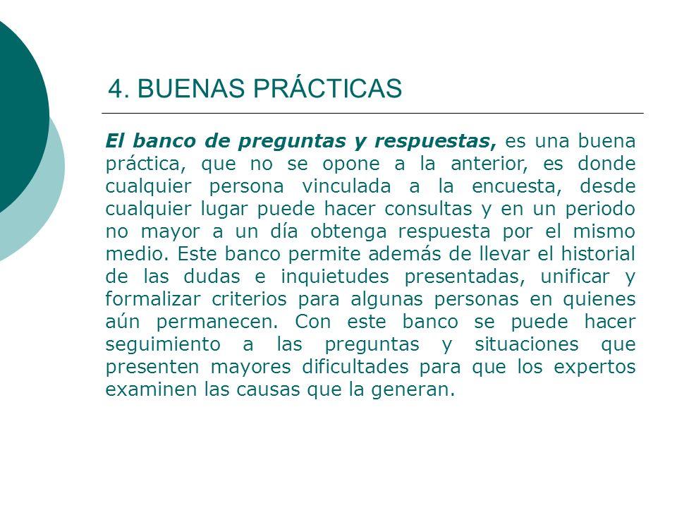 4. BUENAS PRÁCTICAS El banco de preguntas y respuestas, es una buena práctica, que no se opone a la anterior, es donde cualquier persona vinculada a l