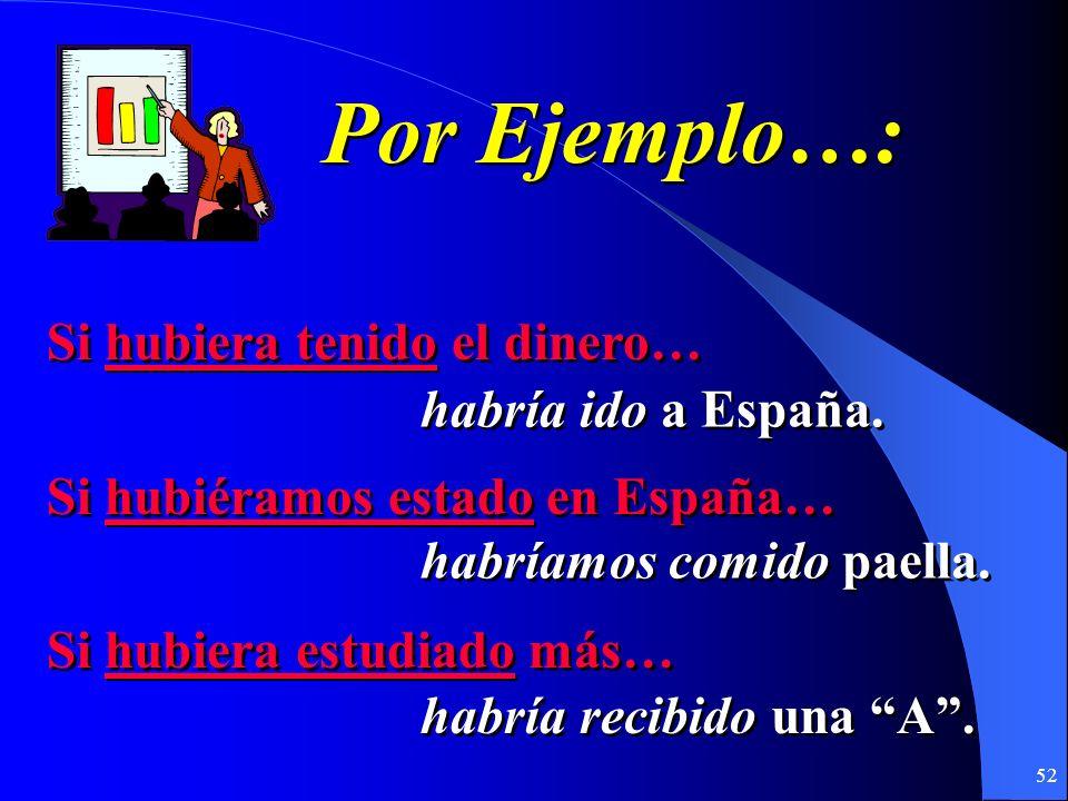 51 2. Contraria a la realidad………en el pasado If I had had the money… (I didnt…) If we had been in Spain… (We werent…) If I had studied more… (I didnt…