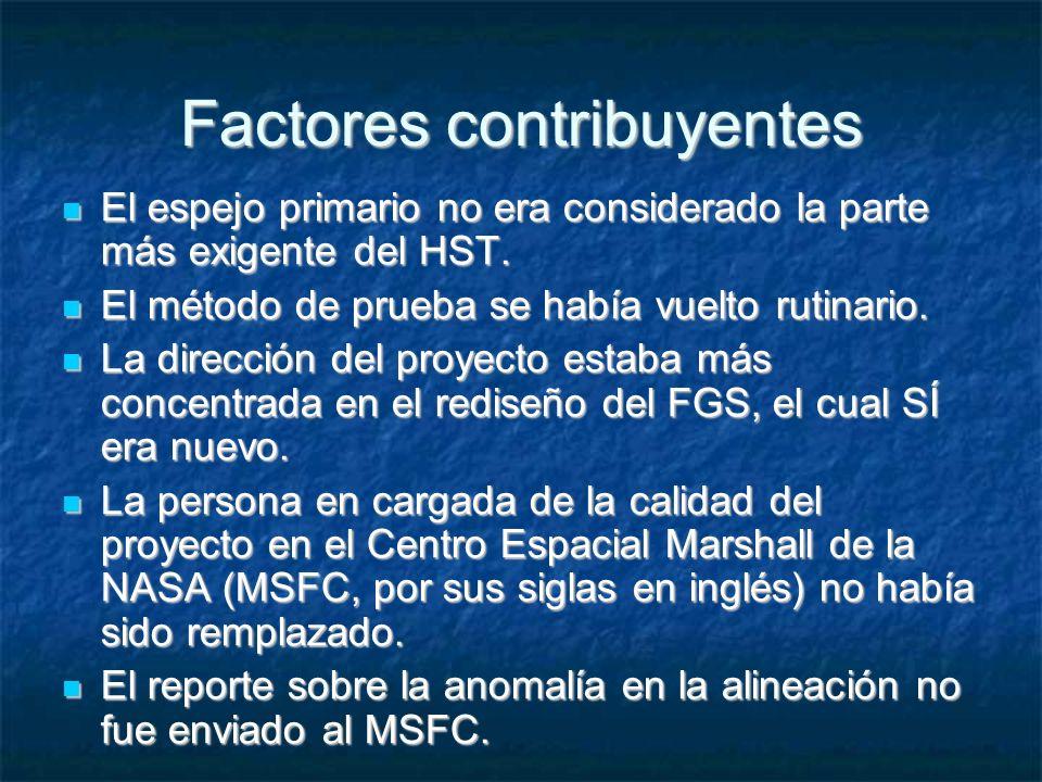 Factores contribuyentes El espejo primario no era considerado la parte más exigente del HST.