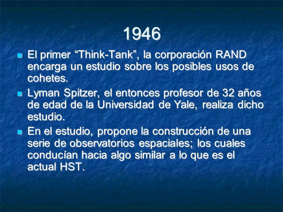 1946 El primer Think-Tank, la corporación RAND encarga un estudio sobre los posibles usos de cohetes.