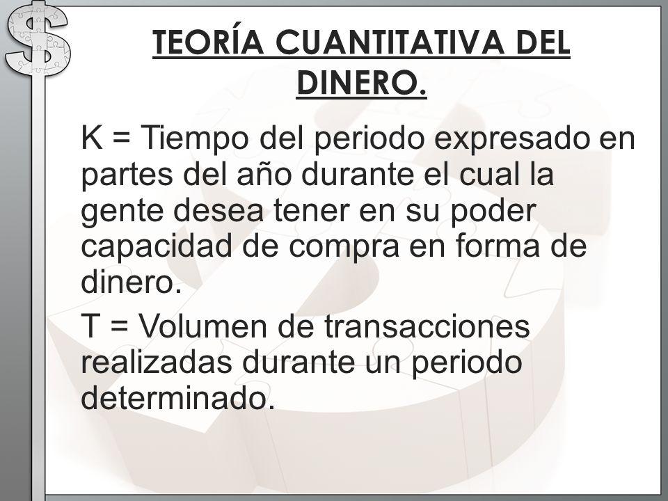 K = Tiempo del periodo expresado en partes del año durante el cual la gente desea tener en su poder capacidad de compra en forma de dinero. T = Volume