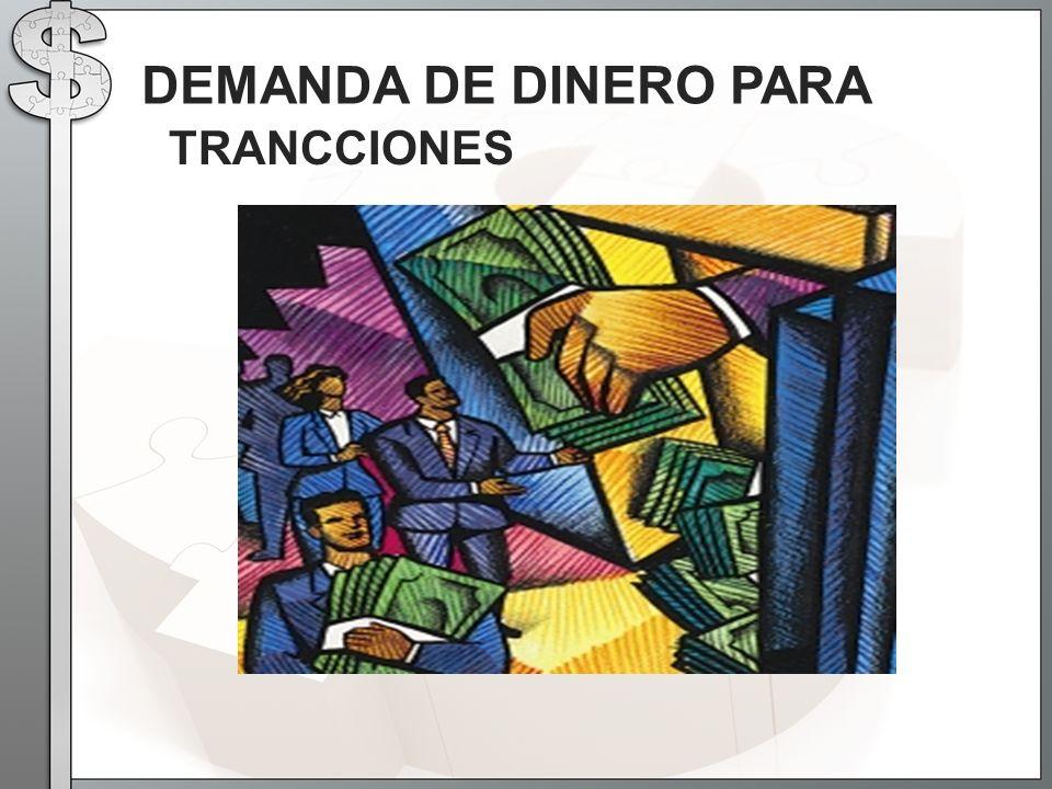 TRANCCIONES DEMANDA DE DINERO PARA