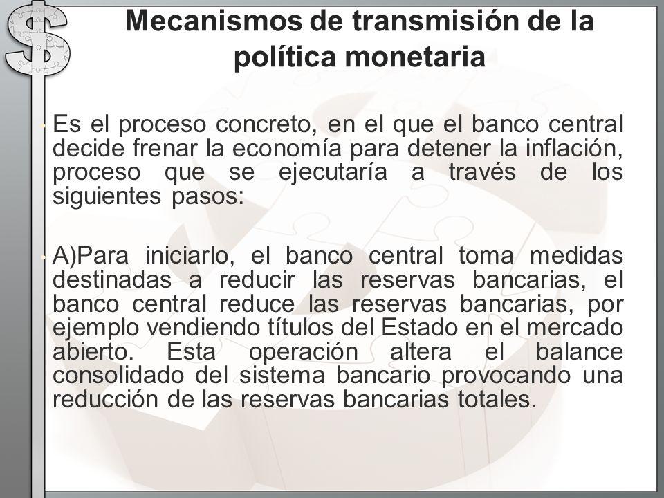 Es el proceso concreto, en el que el banco central decide frenar la economía para detener la inflación, proceso que se ejecutaría a través de los sigu
