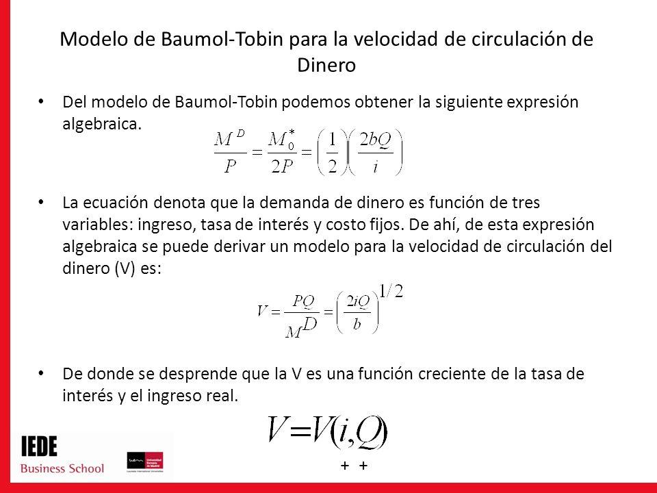 Modelo de Baumol-Tobin para la velocidad de circulación de Dinero Del modelo de Baumol-Tobin podemos obtener la siguiente expresión algebraica. La ecu