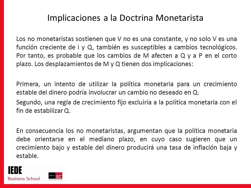 Implicaciones a la Doctrina Monetarista Los no monetaristas sostienen que V no es una constante, y no solo V es una función creciente de i y Q, tambié