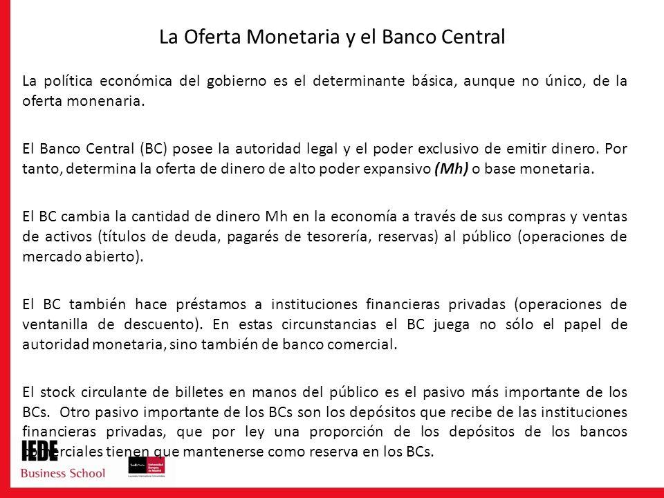 La Oferta Monetaria y el Banco Central La política económica del gobierno es el determinante básica, aunque no único, de la oferta monenaria. El Banco