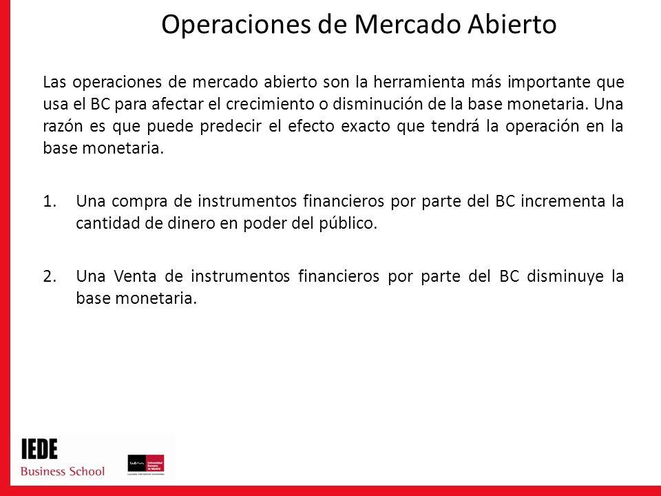 Operaciones de Mercado Abierto Las operaciones de mercado abierto son la herramienta más importante que usa el BC para afectar el crecimiento o dismin