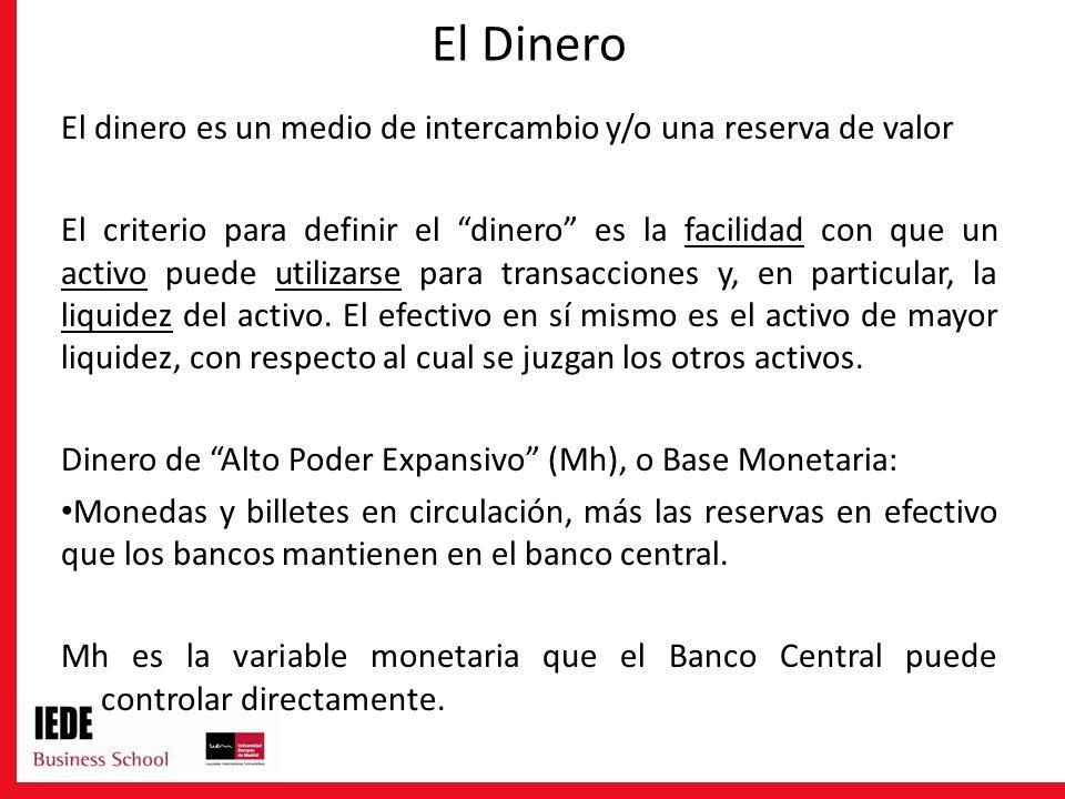 El Dinero El dinero es un medio de intercambio y/o una reserva de valor El criterio para definir el dinero es la facilidad con que un activo puede uti