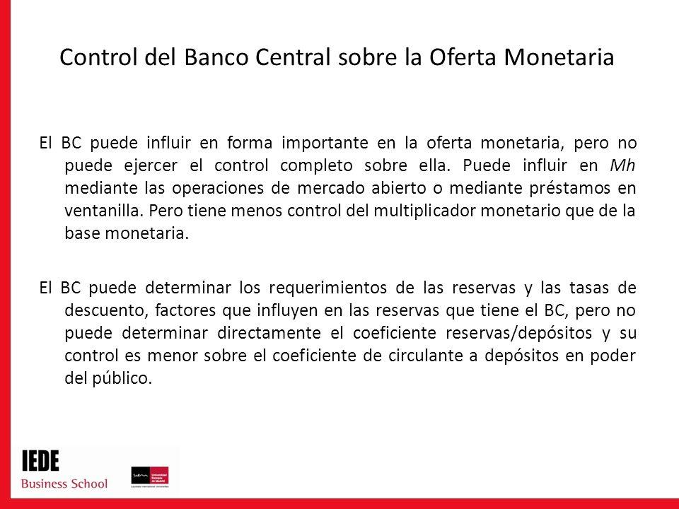 Control del Banco Central sobre la Oferta Monetaria El BC puede influir en forma importante en la oferta monetaria, pero no puede ejercer el control c