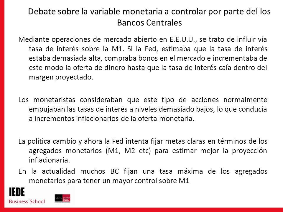 Debate sobre la variable monetaria a controlar por parte del los Bancos Centrales Mediante operaciones de mercado abierto en E.E.U.U., se trato de inf
