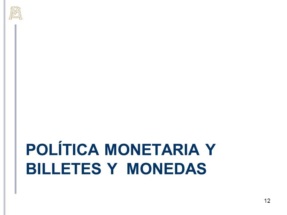 POLÍTICA MONETARIA Y BILLETES Y MONEDAS 12
