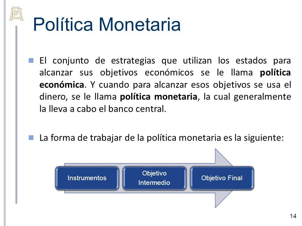 Política Monetaria 14 El conjunto de estrategias que utilizan los estados para alcanzar sus objetivos económicos se le llama política económica. Y cua