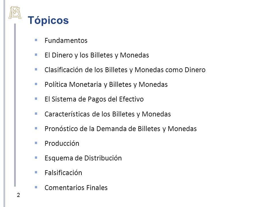 Tópicos Fundamentos El Dinero y los Billetes y Monedas Clasificación de los Billetes y Monedas como Dinero Política Monetaria y Billetes y Monedas El