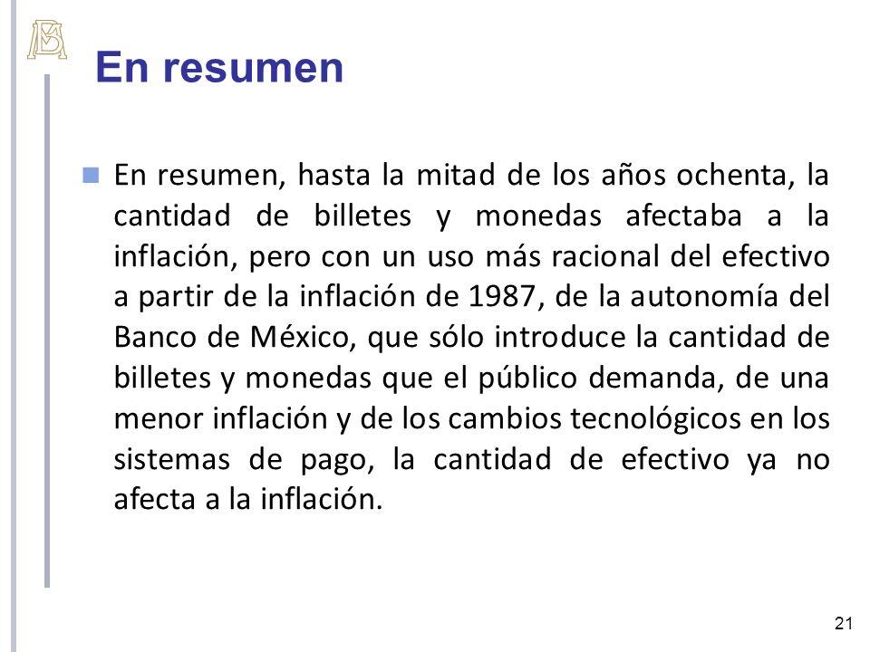 En resumen 21 En resumen, hasta la mitad de los años ochenta, la cantidad de billetes y monedas afectaba a la inflación, pero con un uso más racional