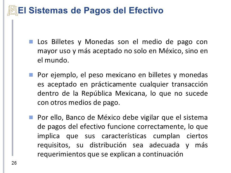 El Sistemas de Pagos del Efectivo Los Billetes y Monedas son el medio de pago con mayor uso y más aceptado no solo en México, sino en el mundo. Por ej