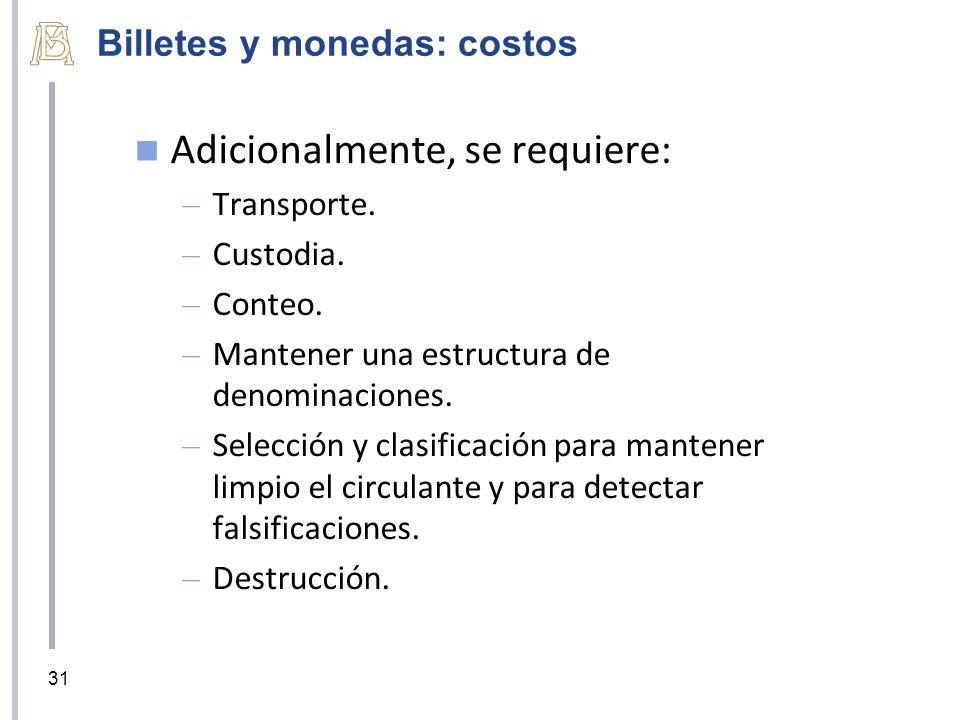 Billetes y monedas: costos Adicionalmente, se requiere: – Transporte. – Custodia. – Conteo. – Mantener una estructura de denominaciones. – Selección y