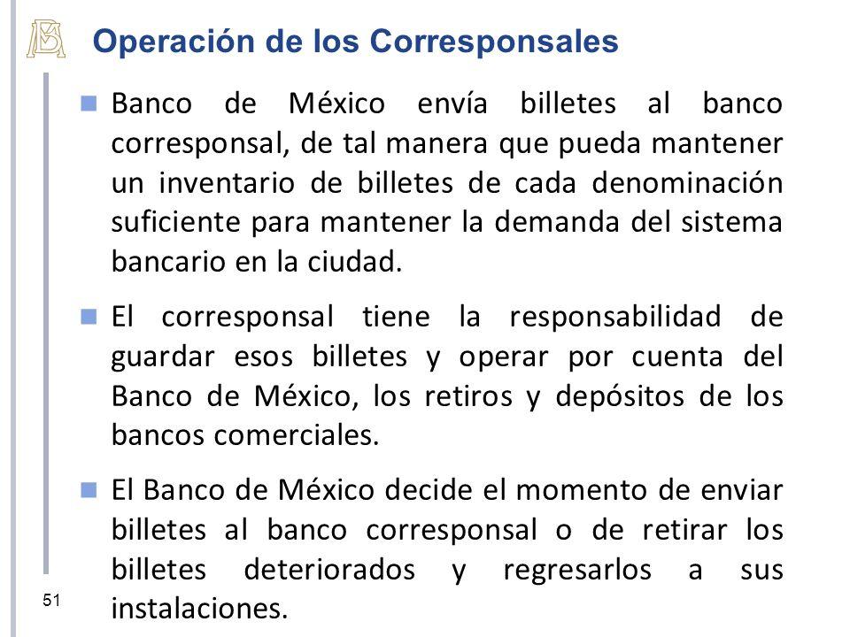 Operación de los Corresponsales Banco de México envía billetes al banco corresponsal, de tal manera que pueda mantener un inventario de billetes de cada denominación suficiente para mantener la demanda del sistema bancario en la ciudad.