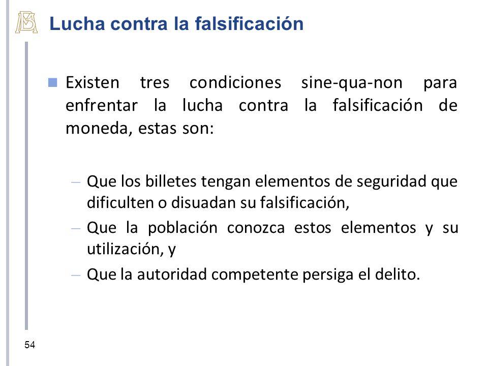 Lucha contra la falsificación Existen tres condiciones sine-qua-non para enfrentar la lucha contra la falsificación de moneda, estas son: – Que los bi