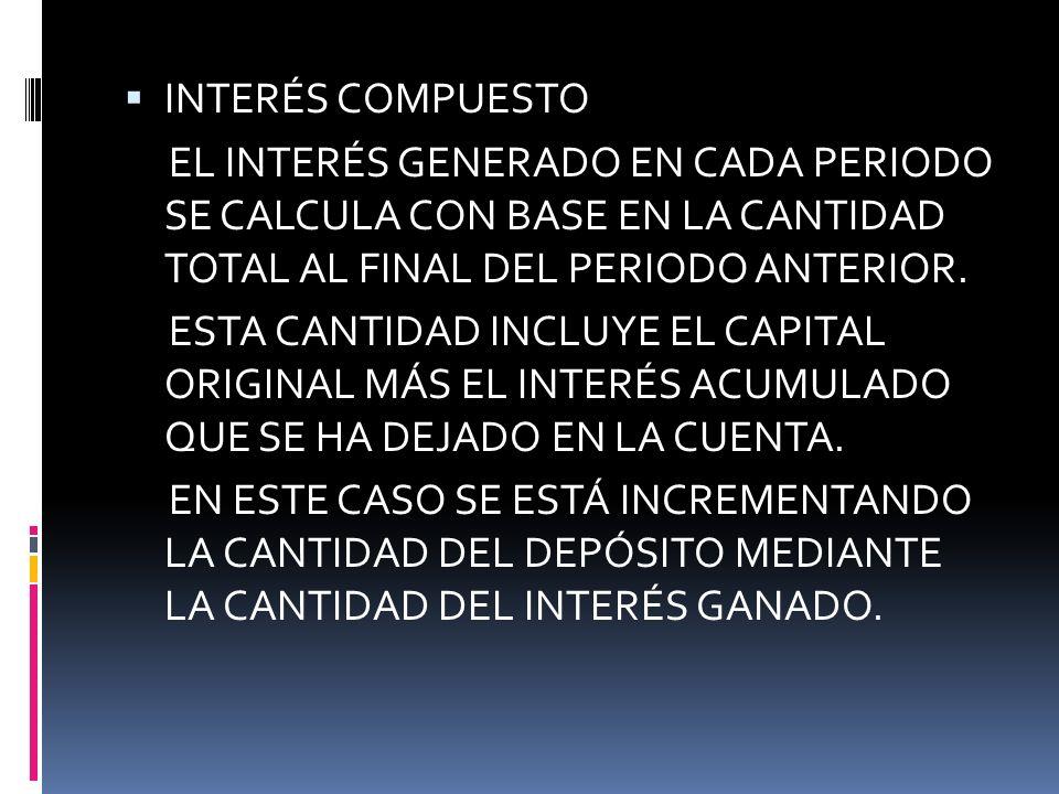 INTERÉS COMPUESTO EL INTERÉS GENERADO EN CADA PERIODO SE CALCULA CON BASE EN LA CANTIDAD TOTAL AL FINAL DEL PERIODO ANTERIOR. ESTA CANTIDAD INCLUYE EL